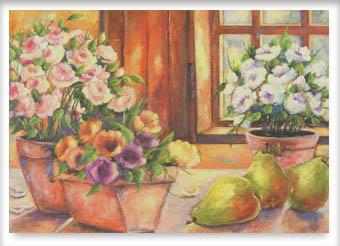 Peras e flores - ast - 90 x 120 - 1998